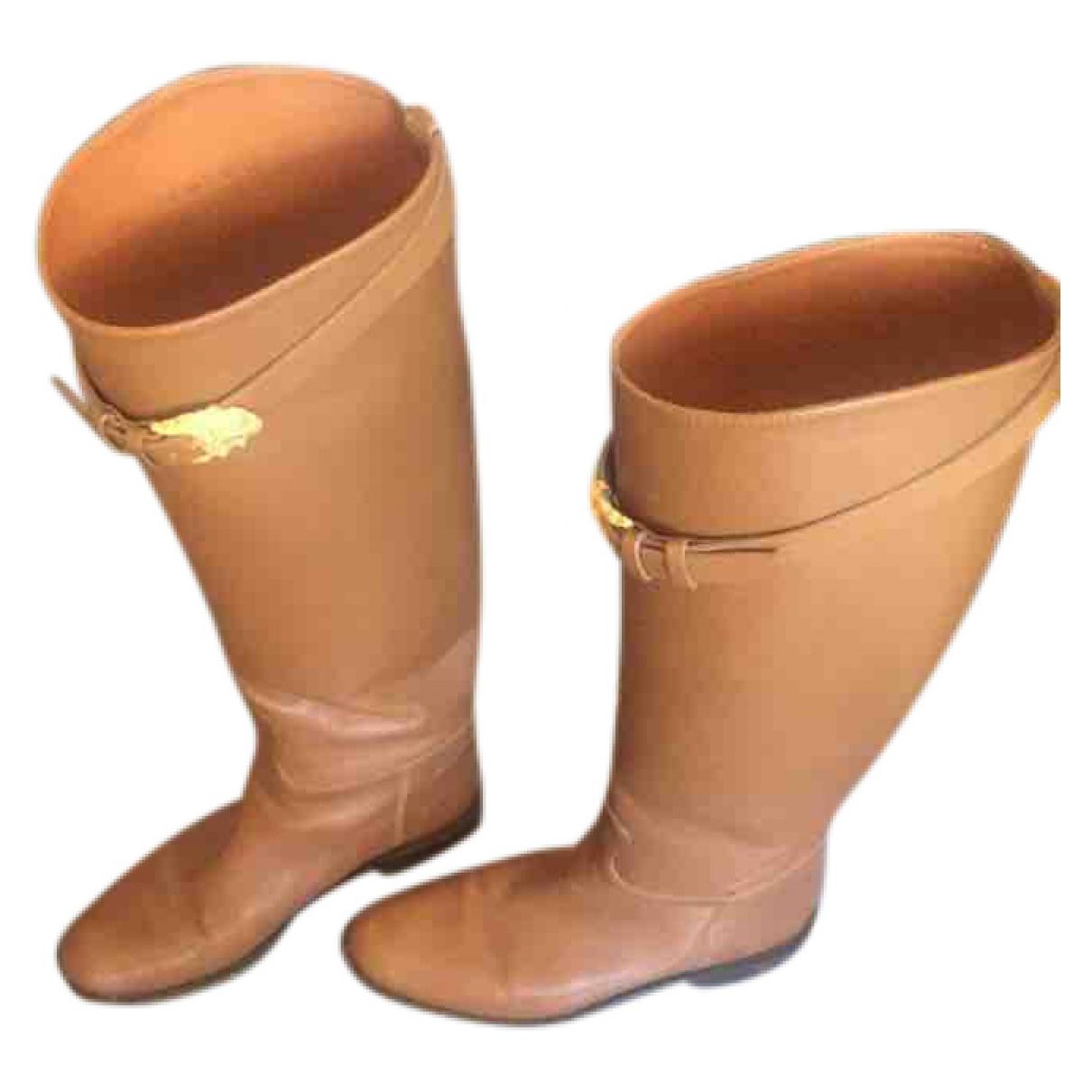 Valentino Garavani - Bottes   pour femme en cuir - camel