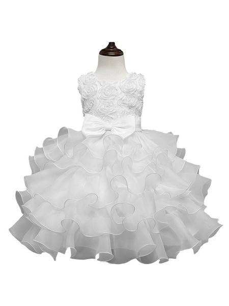 Milanoo Vestidos de niña de flores Cuello de joya Sin mangas Ouganza Vestidos de fiesta sociales para niños