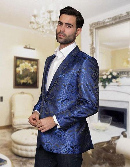 Cool Party Print Christmas Royal Blue Blazer Pattern Jacket For Men