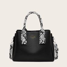 Snakeskin Double Handle Satchel Bag