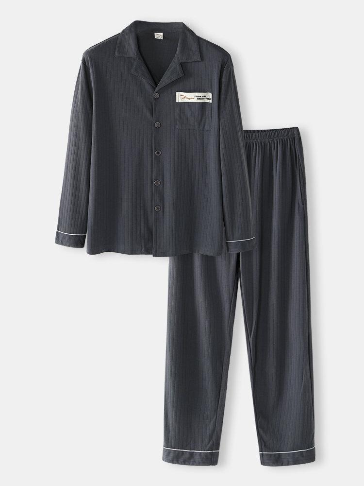 Grey Cotton Fine Grain Sleepwear Sets Long Sleeve Lapel Collar Button Chest Pocket Pajamas