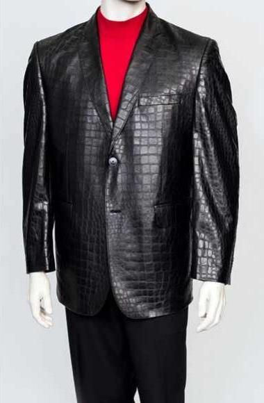 Zacchi Men's Black 2 Button Crocodile Print Notch Lapel Leather Blazer