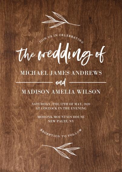 Wedding Invitations 5x7 Cards, Premium Cardstock 120lb with Scalloped Corners, Card & Stationery -Wedding Invitation Woodgrain Wedding by Tumbalina