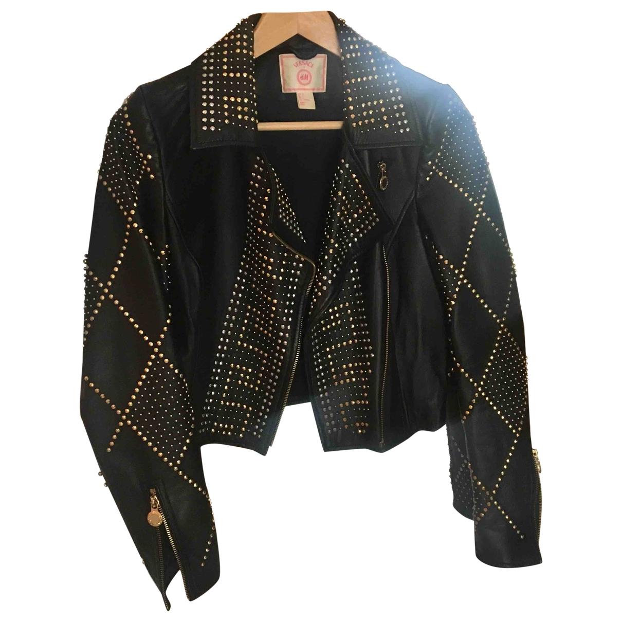 Versace X H&m - Veste   pour femme en cuir - noir