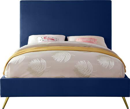 Jasmine JASMINENAVY-T Twin Bed with Gold and Chrome Leg Sets  Full Slats and Velvet Upholstery in