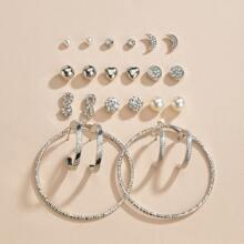 12 Paare Ohrringe mit Kunstperlen & Strass Dekor