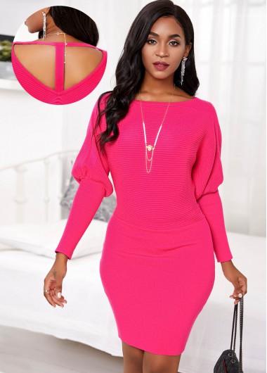 Red Dresses Lantern Sleeve Cutout Back Sweater Dress - XXL