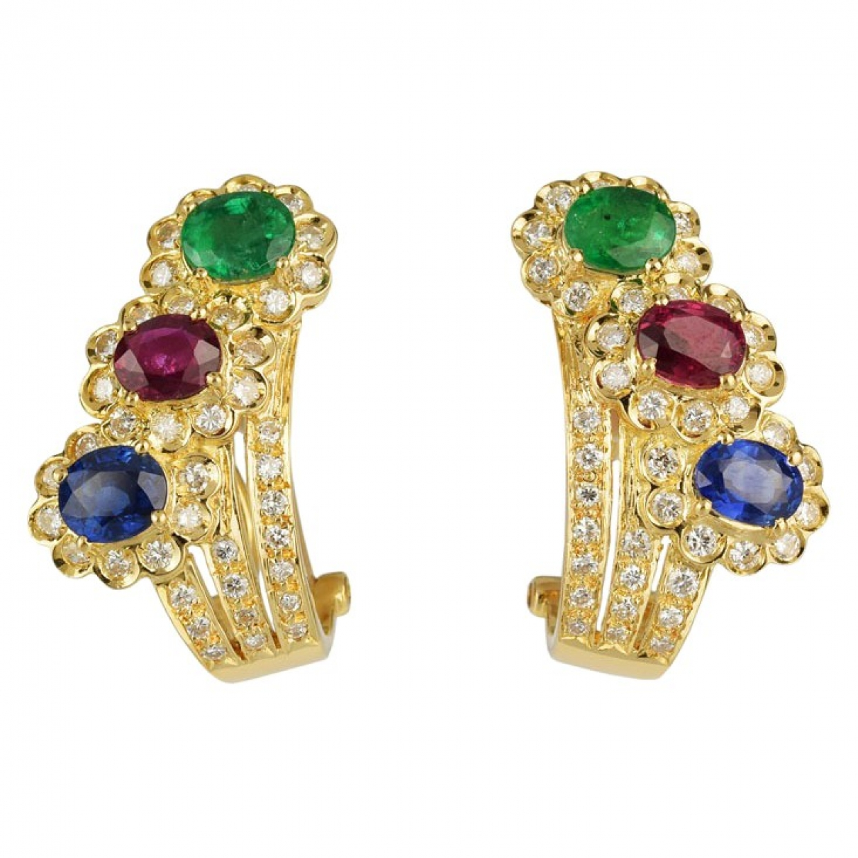 Non Signé / Unsigned \N Multicolour Yellow gold Earrings for Women \N