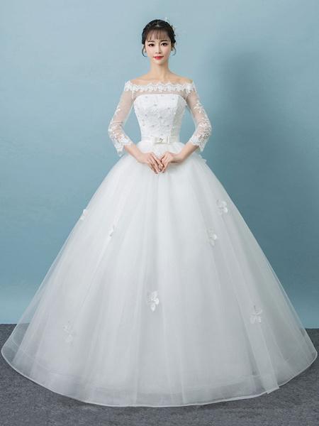 Milanoo Vestidos de novia blanco del vestido de novia de la longitud del piso de la manga del arco de las mangas largas del cordon del hombro