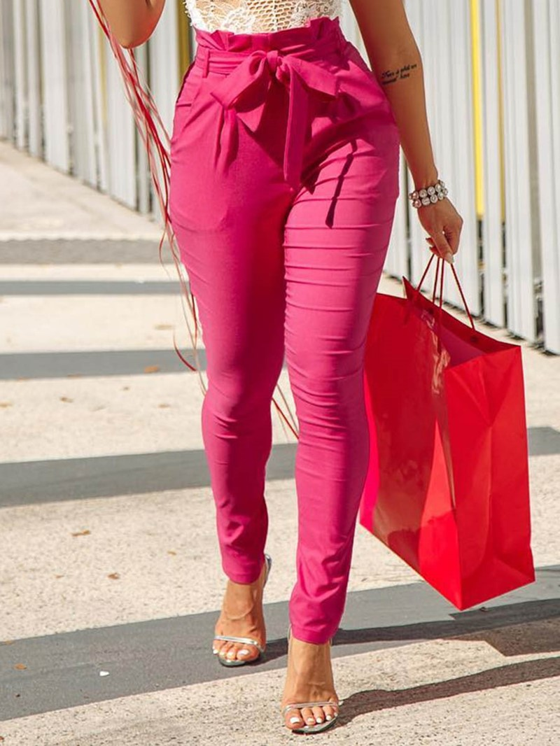 Ericdress Plain Lace-Up Slim High Waist Full Length Casual Pants