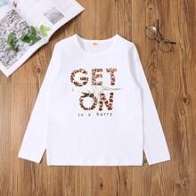 T-Shirt mit Leopard und Buchstaben Grafik