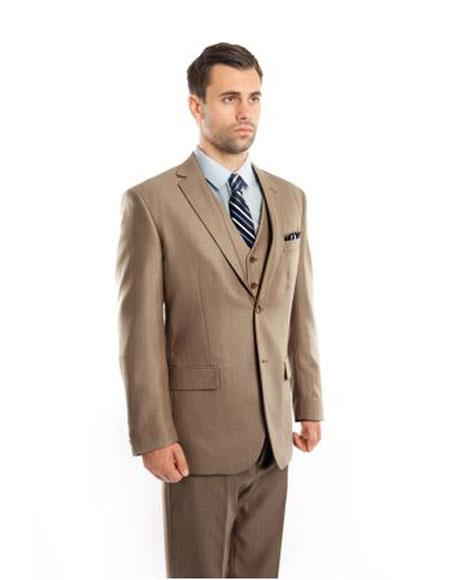 Mens Single Breasted Classic Fit Two Button Tan Suit