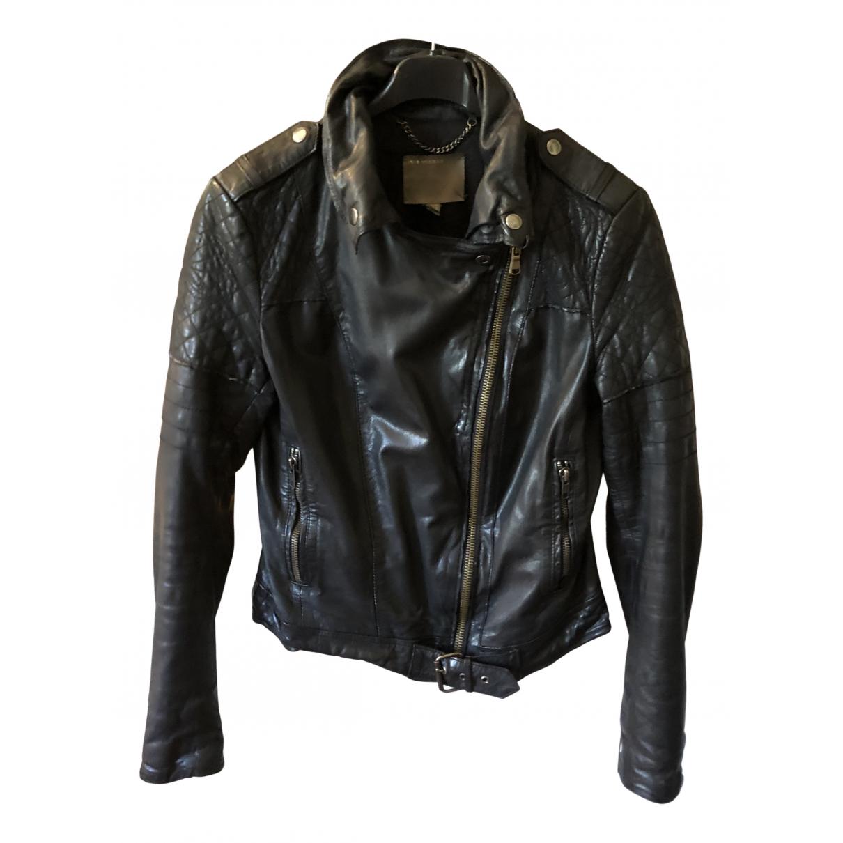 Muubaa - Blouson   pour femme en cuir - noir
