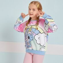 Girls Unicorn Print Pullover