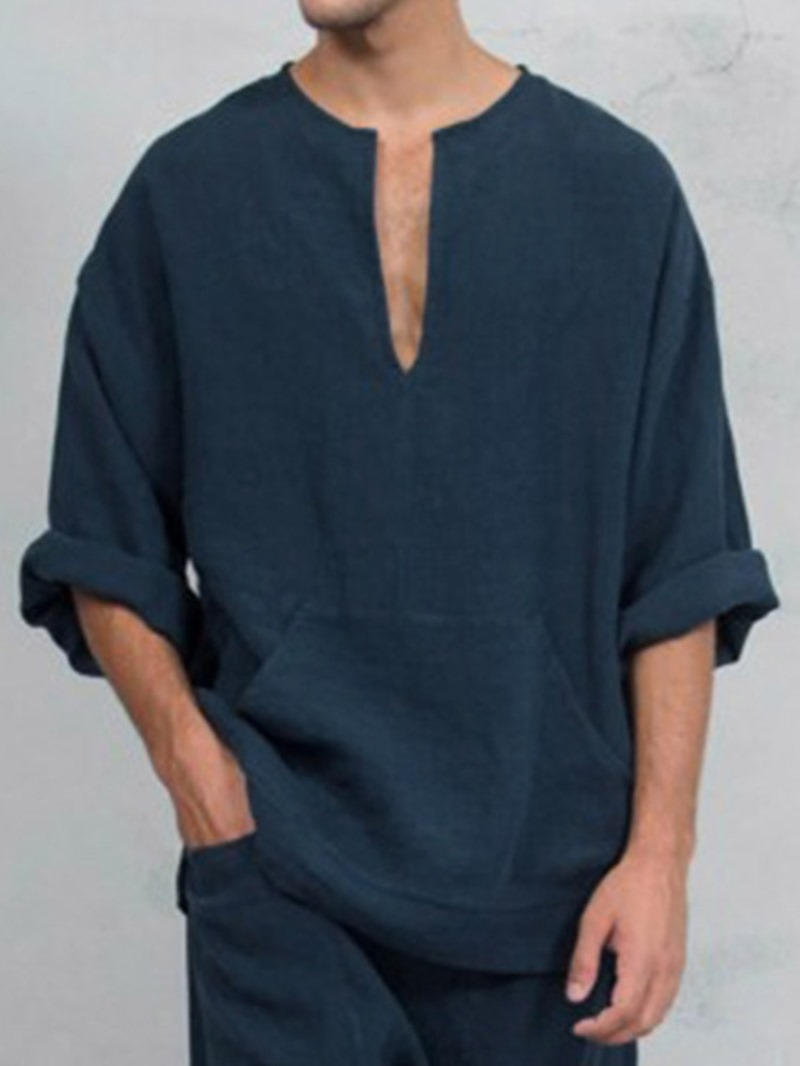 Ericdress Pocket Plain Loose Fall Shirt