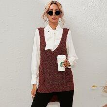 Pulloverweste mit Schlitz hinten, Stufensaum und Konfetti Muster