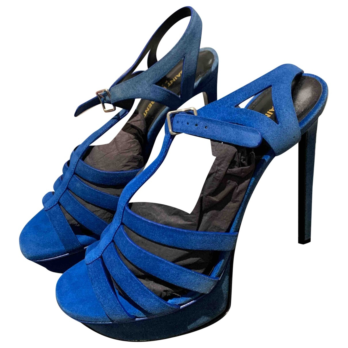 Saint Laurent Tribute Blue Suede Sandals for Women 39 EU