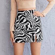 Rock mit hoher Taille und Zebra Streifen