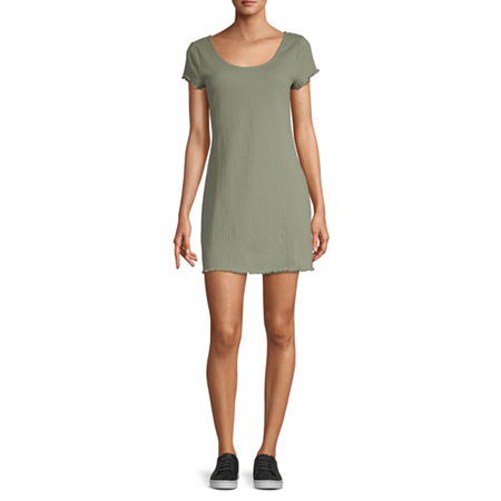 Arizona Short Sleeve T-Shirt Dresses - Juniors, X-small , Green