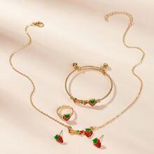 Kleinkind Maedchen Halskette mit Erdbeere Dekor & Ohrringe & Ring & Armband 5 Stuecke