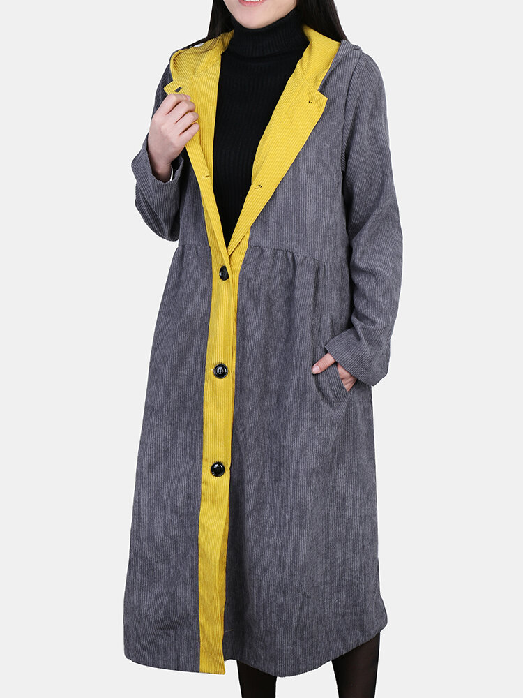 Corduroy Patchwork Hooded Vintage Plus Size Trench Coat