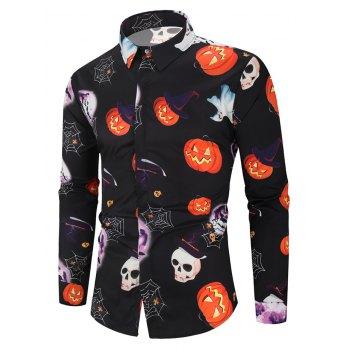 Halloween Pumpkin Skull Ghost Spider Moon Pattern Print Shirt