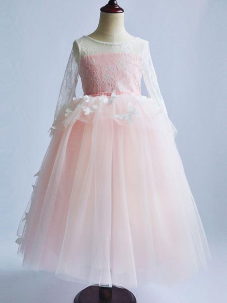 Milanoo Flower Girl Dresses Jewel Neck Long Sleeves Butterfly Kids Pageant Dresses