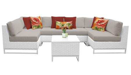 Miami MIAMI-07d-BEIGE 7-Piece Wicker Patio Furniture Set 07d with 2 Corner Chairs  4 Armless Chairs and 1 End Table - Sail White and Beige