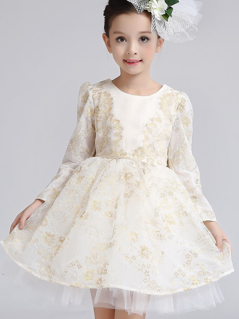 Ericdress Lace Back Bow Long Sleeve Girls Princess Dress