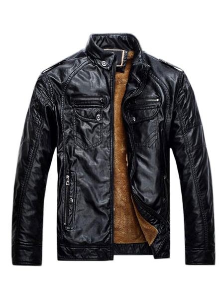 Milanoo Blue Motorcycle Jacket Stand Collar Pocket Zipper Plush Lining Long Sleeve PU Leather Jacket For Men