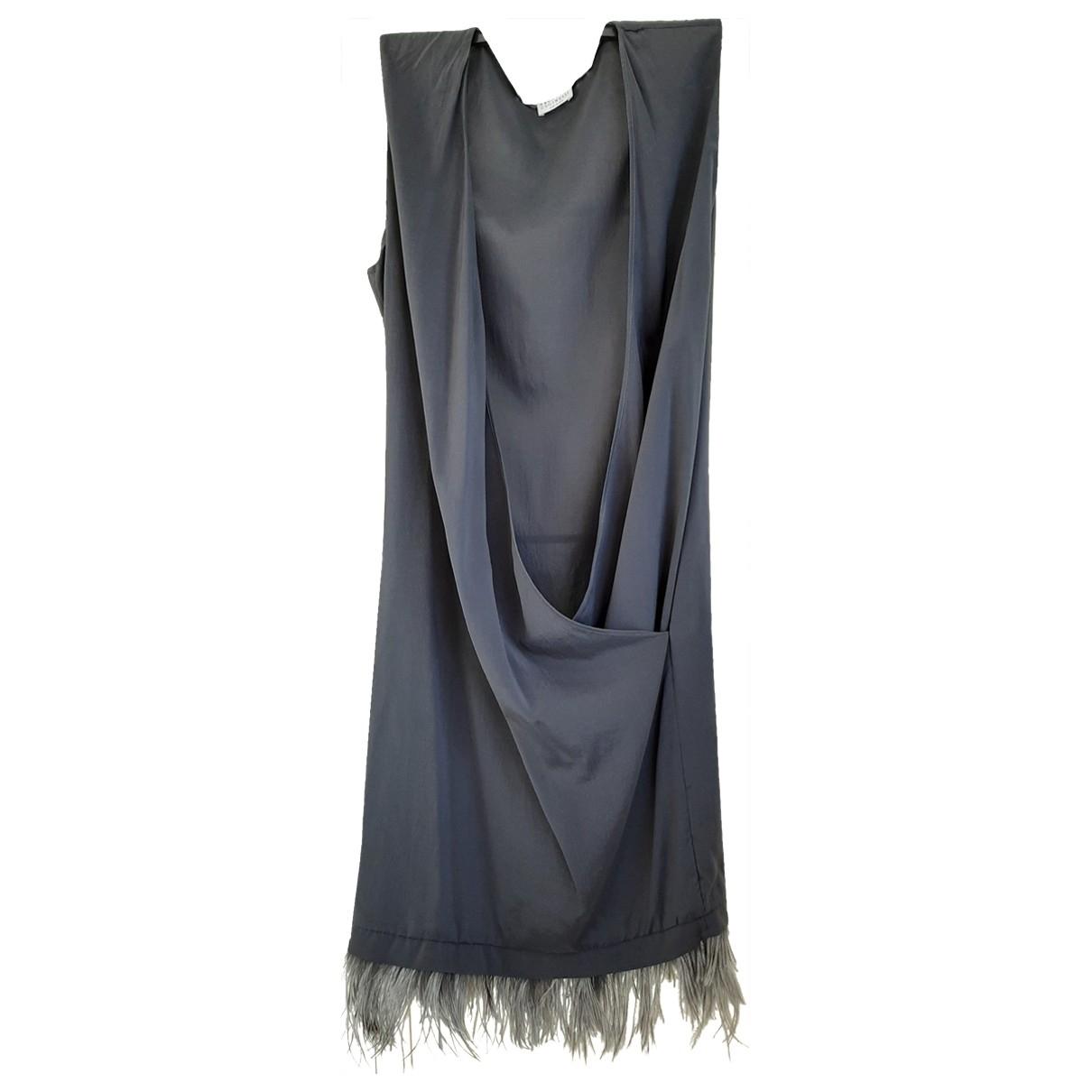 Brunello Cucinelli \N Kleid in  Grau Seide