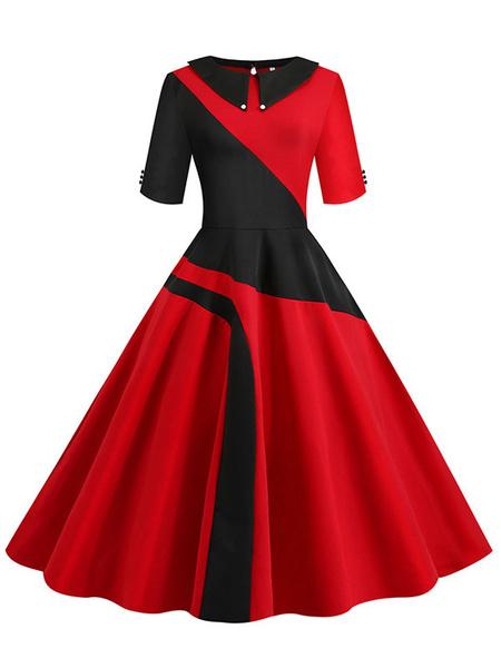 Milanoo Retro Dress 1950s Red Woman\'s Half Sleeves Swing Dress