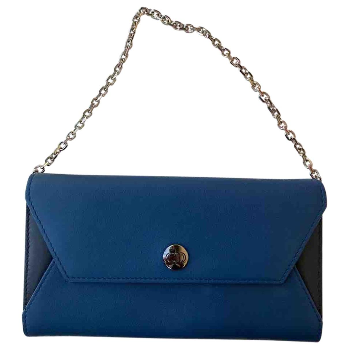 Dior - Portefeuille   pour femme en cuir - bleu