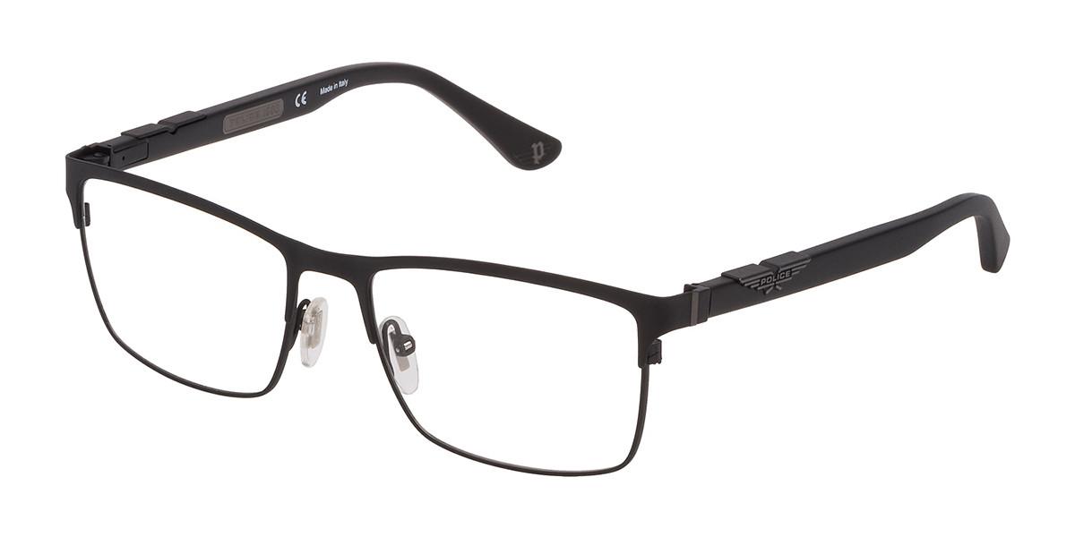 Police VPL885 ORIGINS 6 0531 Men's Glasses Black Size 54 - Free Lenses - HSA/FSA Insurance - Blue Light Block Available