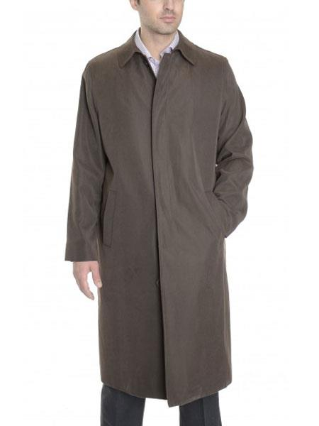 Mens Button Closure Raincoat With Removable Liner Bark Brown