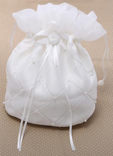 Milanoo Pearls Ecru White Wedding Handbag for Brides
