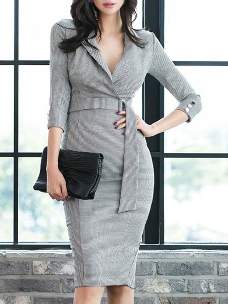 Milanoo Vestidos ajustados Cuello en V gris claro Vestido de lapiz clasico asimetrico con abertura delantera dividida