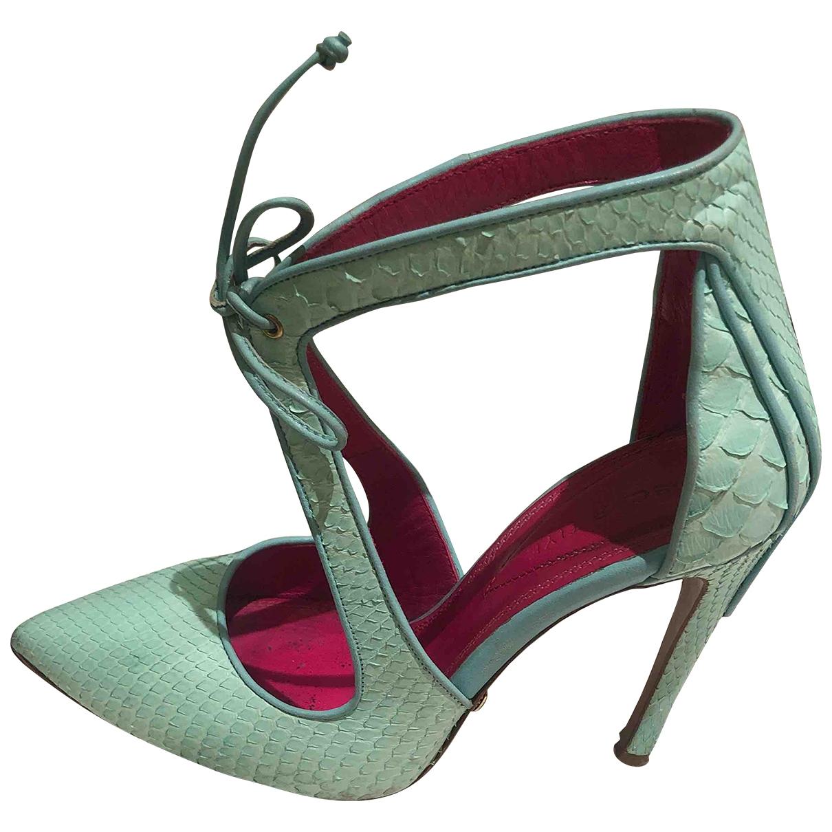 Oscar Tiye \N Turquoise Exotic leathers Heels for Women 36 EU