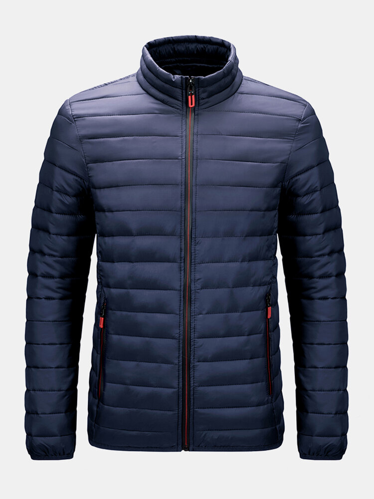 Mens Zip Front Quilted Solid Basic Padded Puffer Jackets With Pocket