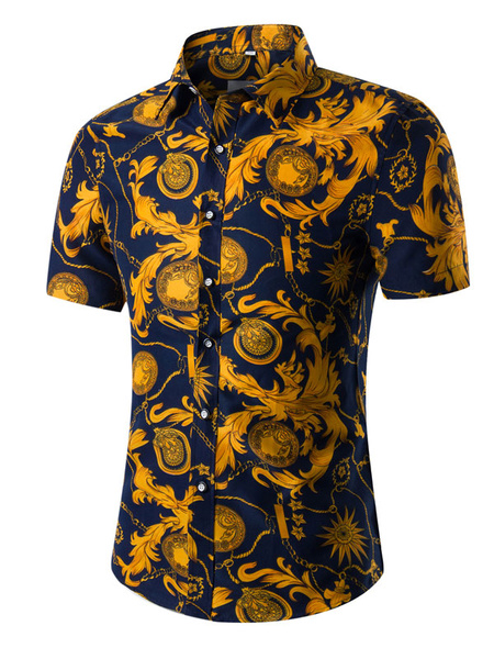 Milanoo Floral Print Shirt Plus Size Multicolor Short Sleeves Cotton Shirt for Men