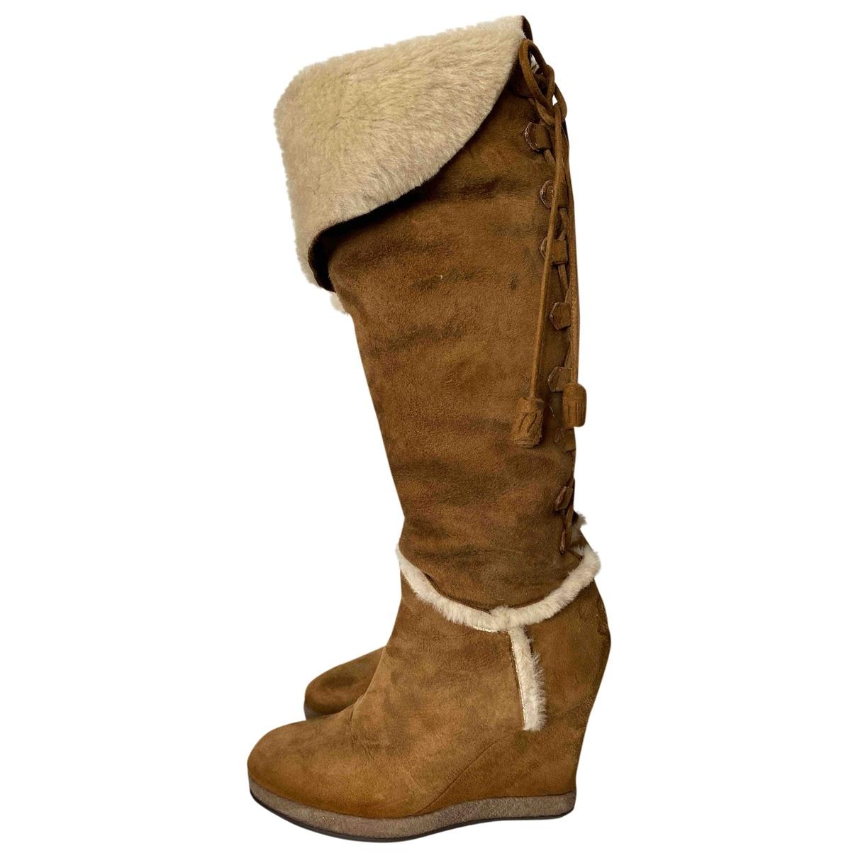 Moncler - Bottes   pour femme en suede - camel