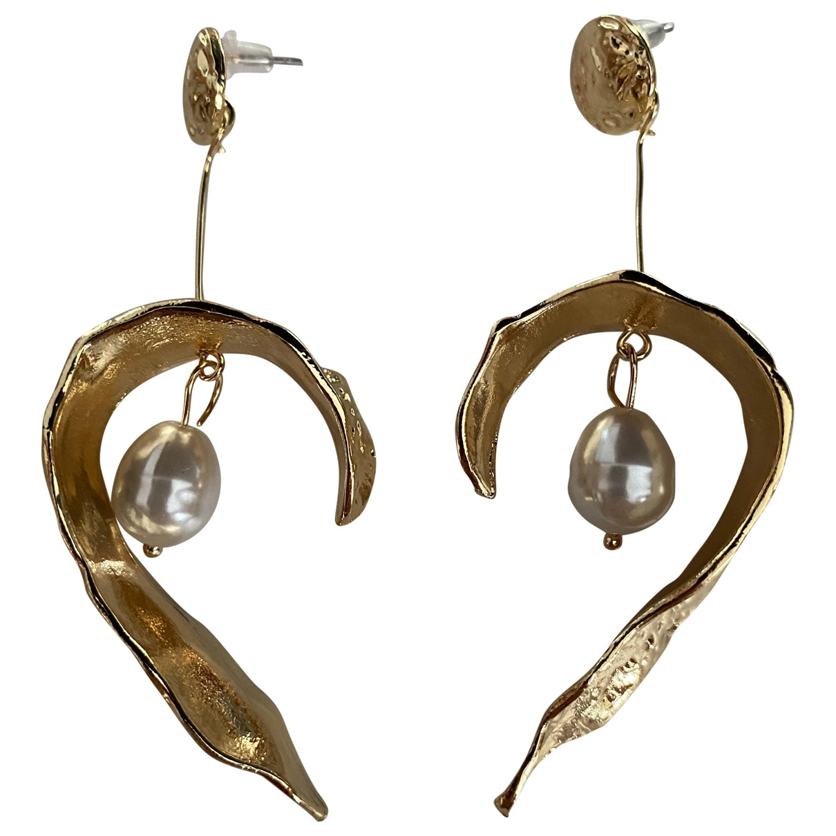 Non Signé / Unsigned Nacre Gold Metal Earrings for Women \N