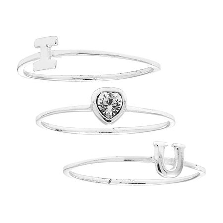 Itsy Bitsy Crystal Sterling Silver Stackable Ring, 9 , White