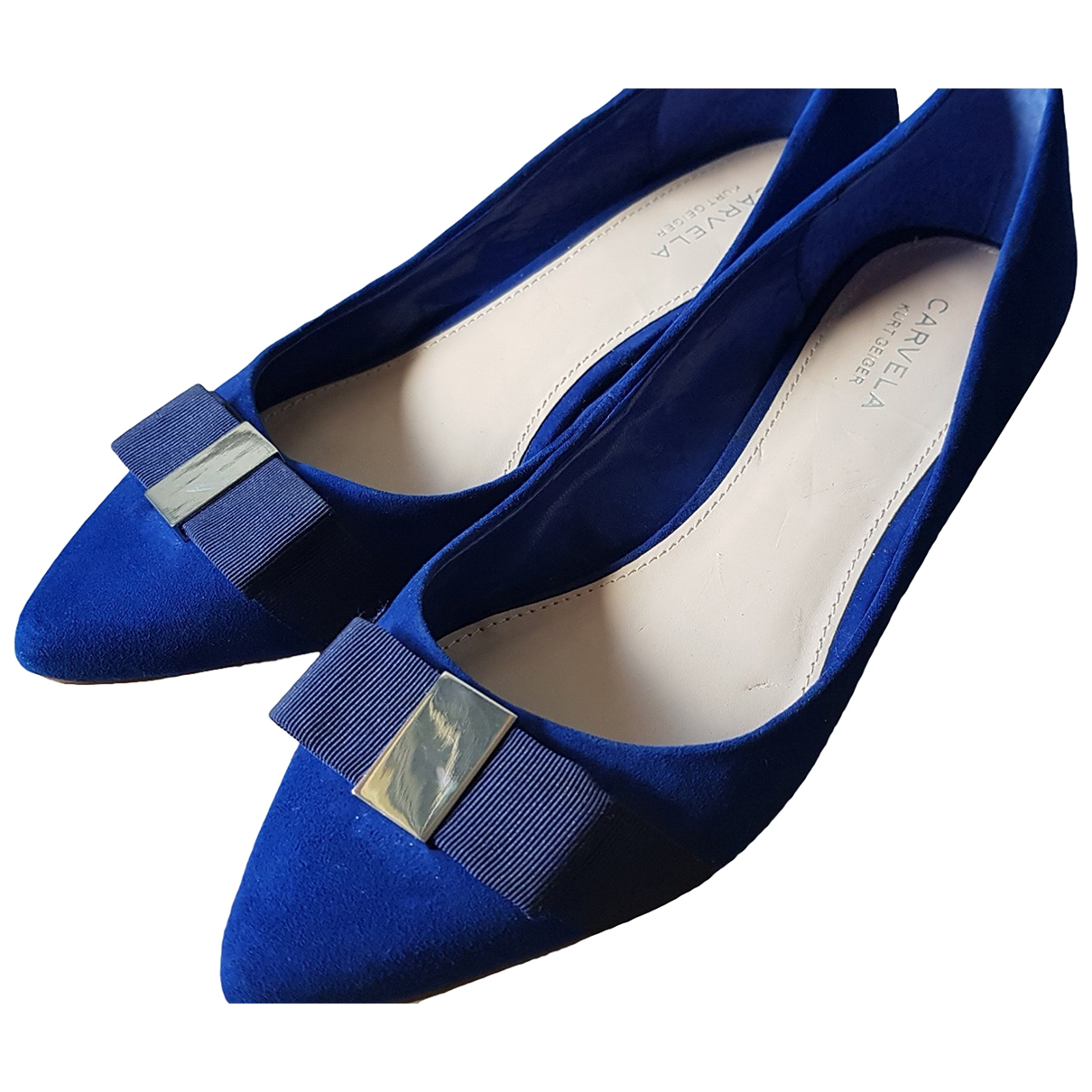 Non Signé / Unsigned \N Blue Leather Flats for Women 39 EU