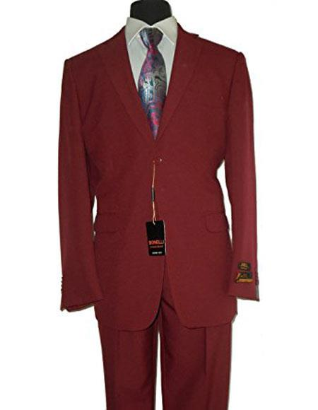 Umberto Bonelli Mens 2 Buttons Burgundy fit suit Flat Front Pants