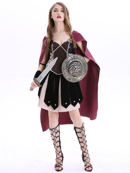 Milanoo Wonder Woman Halloween Costumes Woman Headwear Armwear Dress Cloak Holidays Costumes