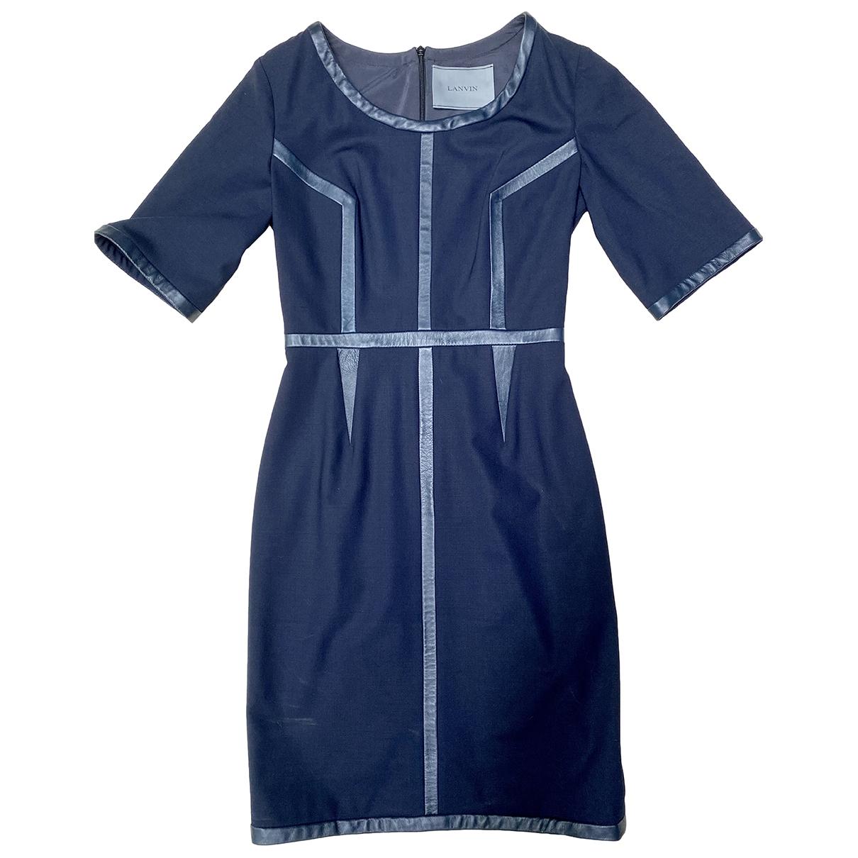 Lanvin - Robe   pour femme en cuir - bleu