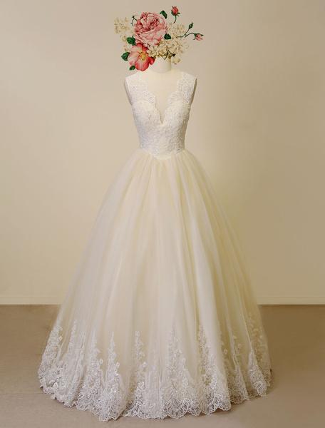 Milanoo Boda Champagne vestido encaje apliques tul vestido de novia-vestido hundiendo rebordear vestido ilusion detras de lujo vestido de novia