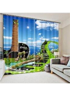 3D Music Bridge and Guitar Printed Creative Scenery Polyester Custom Decorative Curtain