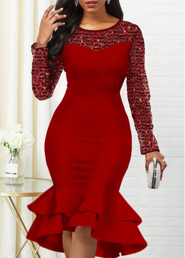 Christmas Rosewe Holiday Dress Sequin Detail Round Neck Mermaid Dress - S
